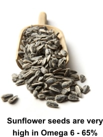 Sunflower seeds are very high in Omega 6 - 65%
