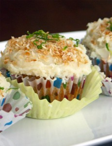 Gluten and refined sugar free lime and coconut cupcakes